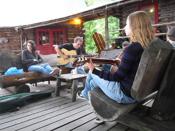 """Gracie jamming with """"They Might Be Gypsies"""" the morning after their performance. Two really nice guys, who were very supportive of Gracie and her talent."""