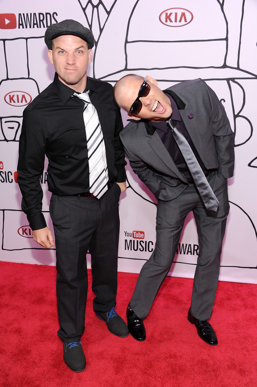 . Lloyd \'EpicLLOYD\' Ahlquist (L) and Peter \'Nice Peter\' Shukoff of Epic Rap Battles of Histor attend the YouTube Music Awards 2013 on November 3, 2013 in New York City.  (Photo by Dimitrios Kambouris/Getty Images)