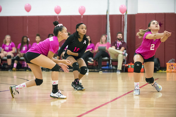 Innovation girls volleyball defeated Wheeler 3-0 on Wednesday afternoon. Leeneysha Vargas (1) and Kenia Hernandez (15) look as the back up Victoria Merced (2) on a return. Wesley Bunnell | Staff
