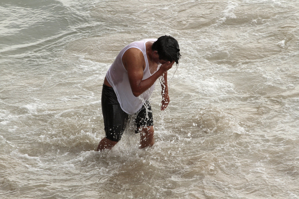 . A man cools off in the ocean water at Santa Monica Beach in Santa Monica, California, June 30, 2011, as crowds escape the heat wave gripping the southwest US.     JONATHAN ALCORN/AFP/Getty Images