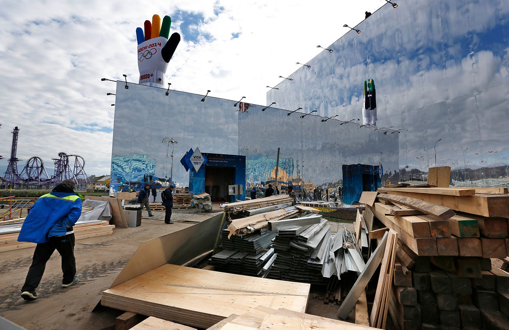 . Last-minute work continues in construction of  the Olympic Superstore in Olympic Park, ahead of the 2014 Winter Olympics, Wednesday, Feb. 5, 2014, in Sochi, Russia. (AP Photo/Robert F. Bukaty)