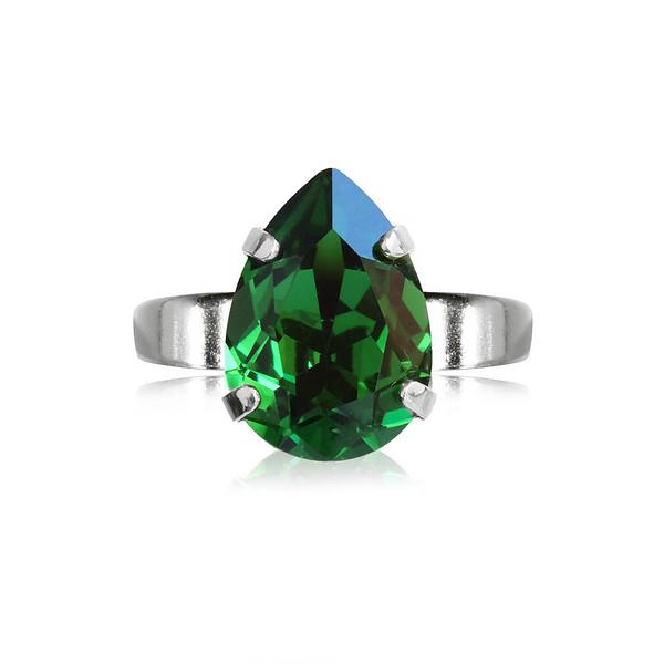 Mini Drop Ring / Dark Moss Green / Rhodium