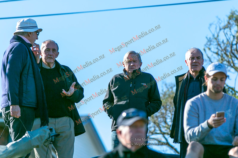 Andy Lesie (Petone) with OBU supporters Mike Copeland and Peter Garty at the Wellington Premier reserve rugby union match (Harper Lock Shield) between Old Boys University RFC (white) and Petone RFC (blue) at Nairnville Park, Wellington, New Zealand on 2 June 2018.    SCORE : Petone 17; OBU 24 Copyright John Mathews 2018 http://www.megasportmedia.co.nz