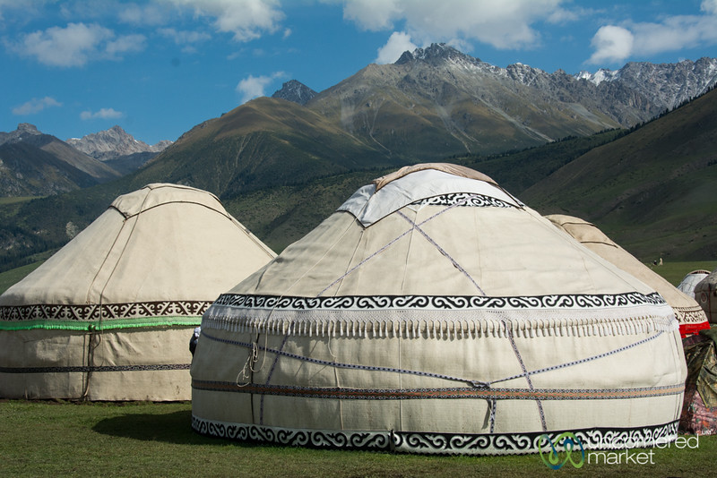 Yurts with a Mountain Backdrop - World Nomad Games, Kyrgyzstan