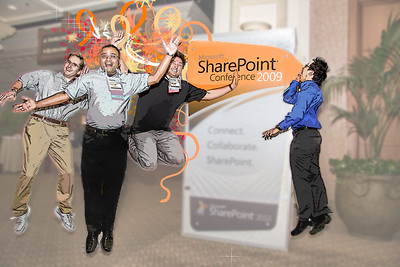 Microsoft Speakers Sonji Soni, Vladimir Melnik, and Kevin.  I never caught the name of the SharePoint Shouter.  SharePoint Conference 2009 Photos by Marcy Kellar