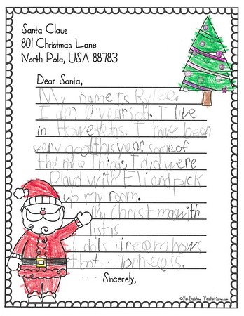 Mrs. Johnston's First Grade Letters to Santa