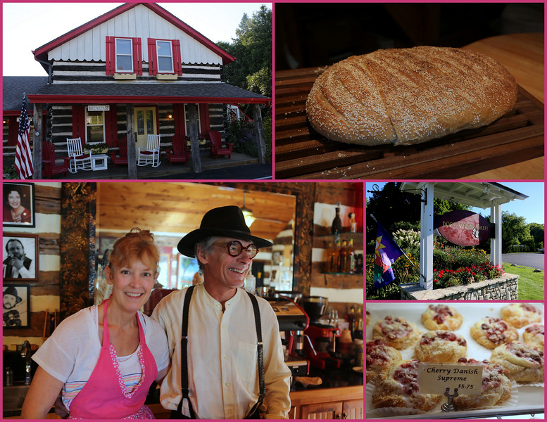 Jean & Donaldo Thompson of Door County Bakery - a delightful world filled with treasurers including  hand-crafted pastries, breads, coffees, wine and more. www.doorcountybakery.com  1.888.392.7372   Shown in the upper right is their trade-marked Corsica Loaf.