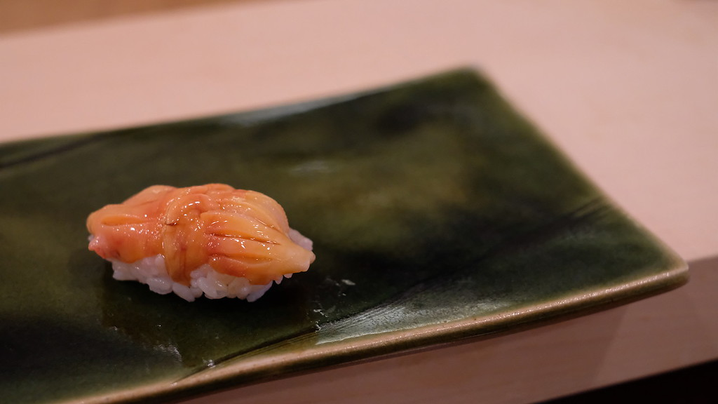 Akagai. Slippery, lightly crunchy texture. Pretty good.