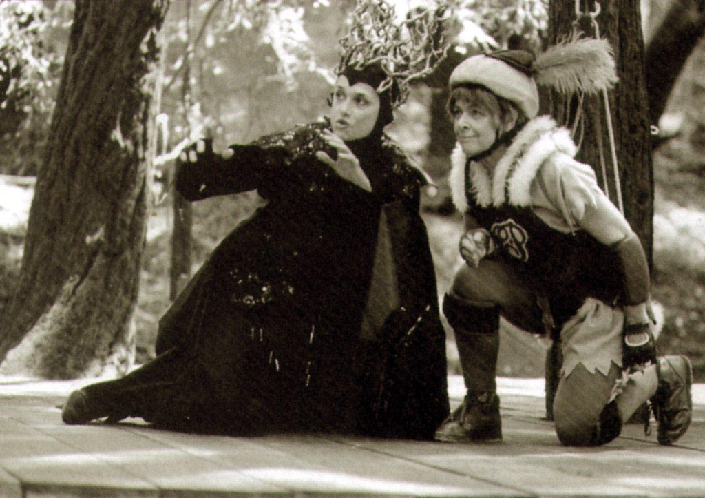 ". Audrey Stanley, right, played Puck in a memorable 1991 performance of ""A Midsummer Night\'s Dream.\""  The acrobatic role required the founder of Shakespeare Santa Cruz to fly on wires. (Sentinel file)"