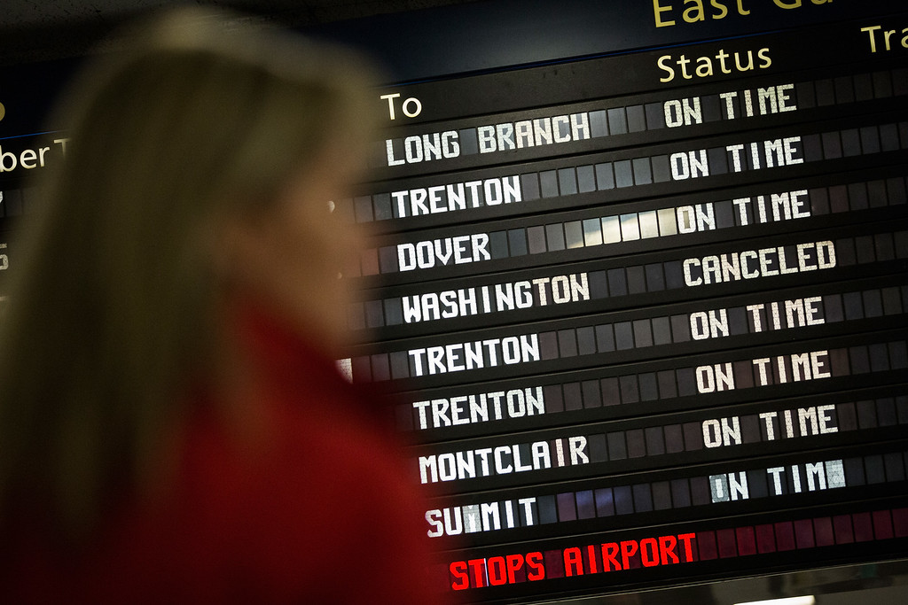 . NEW YORK, NY - MAY 13:  The Amtrak information board shows the Washington-bound train from New York as cancelled after an Amtrak train derailed in Philadelphia last night, on May 13, 2015 in New York City. The crash killed at least six people and injured dozens more.  (Photo by Andrew Burton/Getty Images)