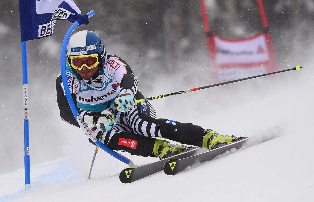 . Finland\'s Marcus Sandell powers his way in the first run of the men\'s giant slalom at the FIS Ski World Cup in Beaver Creek, Colorado, December 8, 2013.  EMMANUEL DUNAND/AFP/Getty Images