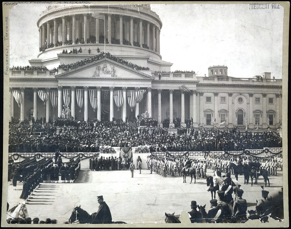 . Chief Justice Melville W. Fuller administering the oath of office to Theodore Roosevelt on the east portico of the U.S. Capitol. (Photo from The Library of Congress)
