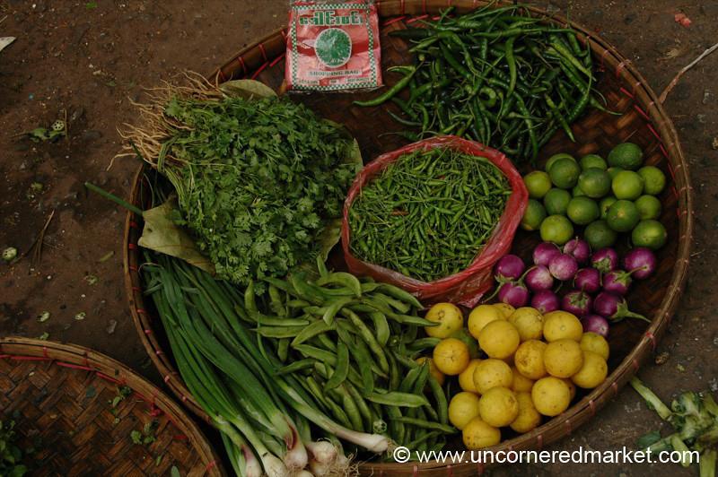 Burmese Vegetables at Market - Rangoon, Burma (Yangon, Myanmar)