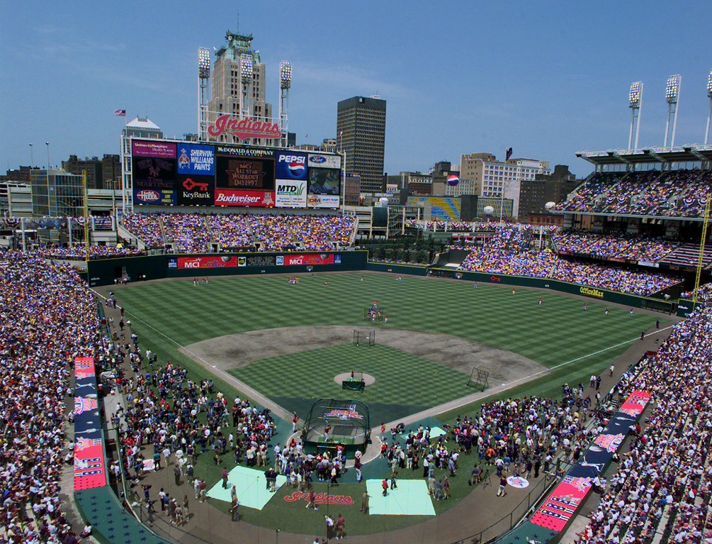 . The stands of Jacobs Field are filled Monday July 7, 1997 in Cleveland during All-Star festivities. The All-Star game will be played Tuesday July 8, 1997. (AP Photo/Ed Reinke)