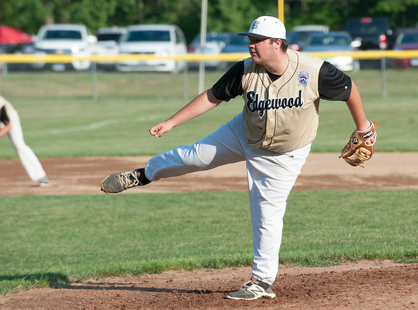 07/02/18 Wesley Bunnell | Staff Edgewood vs Southington S/W in a district 5 senior league baseball game on Monday evening in Bristol. Jame Hall (16).