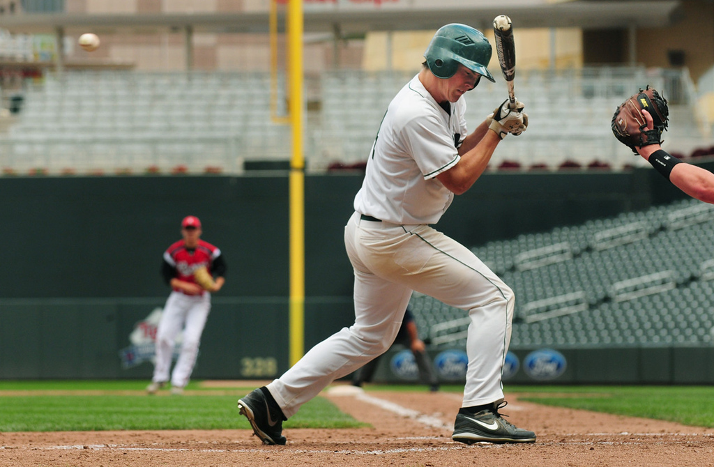 . Austin Smestad of Mounds View gets out of the way of a pitch by Rocori\'s Jake Hennen in the fourth inning.  (Pioneer Press: Scott Takushi)