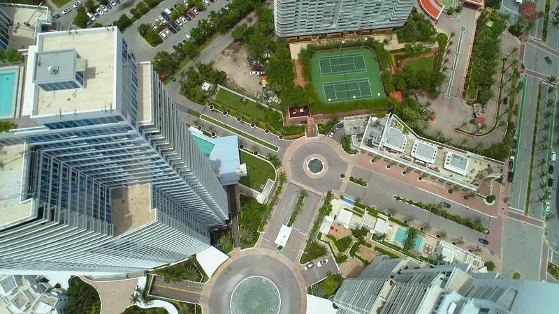Aerial scenic aerials of Miami Beach waterfront city