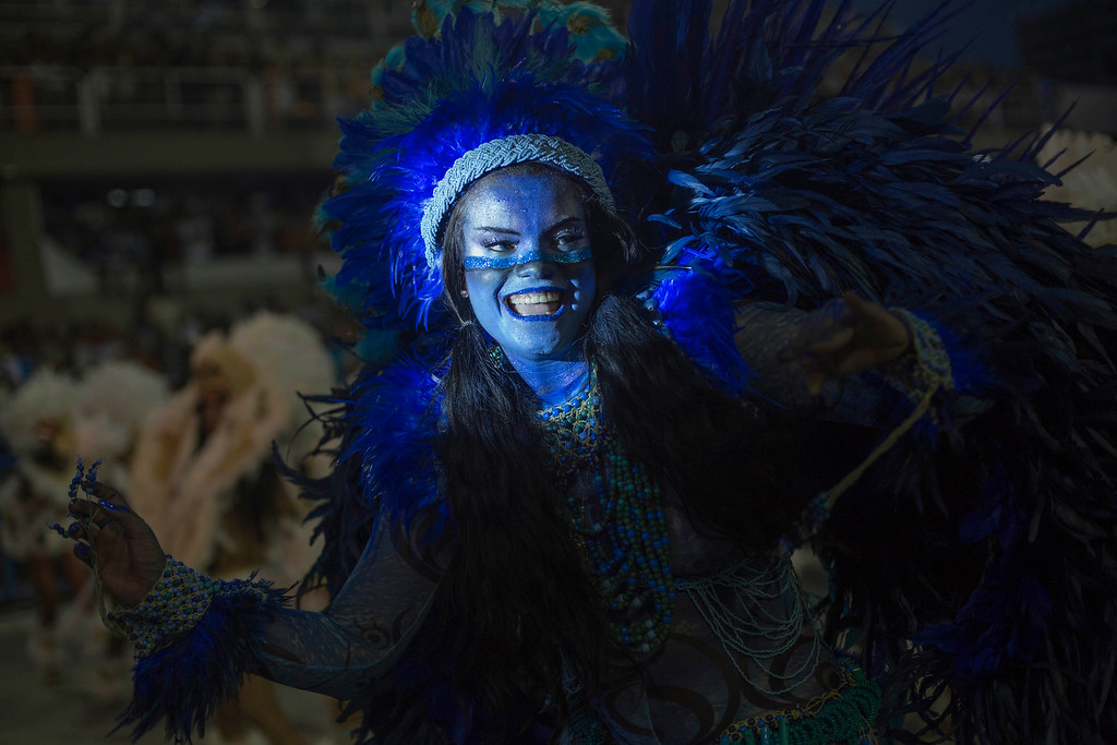 . A performer from the Beija Flor samba school parades during Carnival celebrations at the Sambadrome in Rio de Janeiro, Brazil, Monday, Feb. 27, 2017. (AP Photo/Mauro Pimentel)