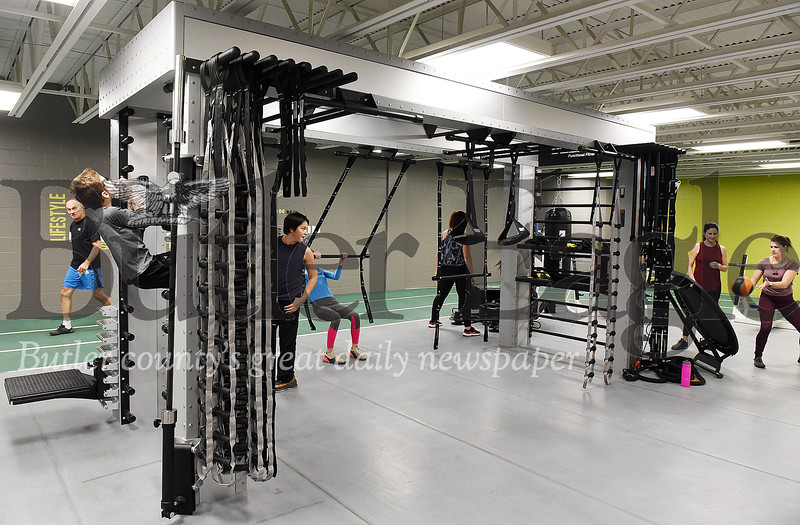 Harold Aughton/Butler Eagle: The YMCA's new Queenex Rig workout station allows for multiple exercises.
