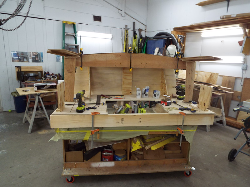 Desk with the transom glued in place getting ready for drawer dividers.