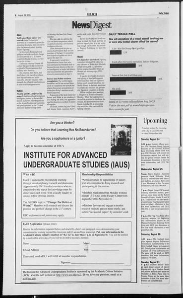 Daily Trojan, Vol. 153, No. 2, August 24, 2004