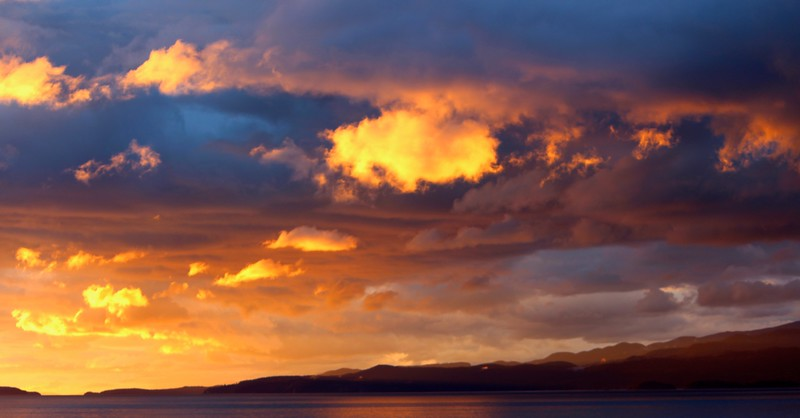 Spectacular sunset over Vancouver Island