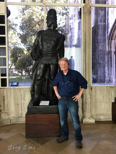 With statue of Gil Eanes, a 15th-century Portuguese navigator and explorer.  Lisbon, Portugal.