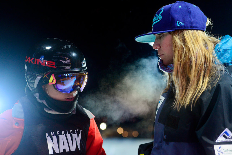. ASPEN, CO. - JANUARY 24: Elana Chase coaches athlete Anais Caradeux during warmup for the women\'s ski superpipe final. X Games Aspen Buettermilk Mountain Aspen January 25, 2013 (Photo By AAron Ontiveroz / The Denver Post)