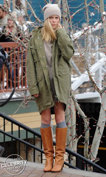 Swimsuit model Brooklyn Decker wears a short skirt during the snowy Sundance Film Festival!