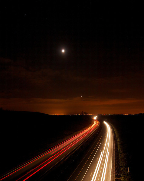 Jan 28 2012. Nice trio of Jupiter, waxing Moon and Venus. Jupiter is 10 o'clock from moon and Venus 5 o'clock. Composed overlooking the A14 in Northants looking towards Rugby direction. Captured with Oly E5, 7-14mm lens. 8s, F4.5, ISO 500.