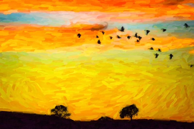 Diablo Sunset and Geese in Pastel-1.jpg