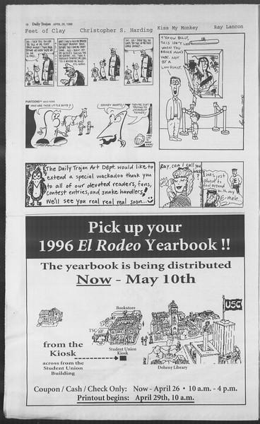 Daily Trojan, Vol. 127, No. 67, April 26, 1996