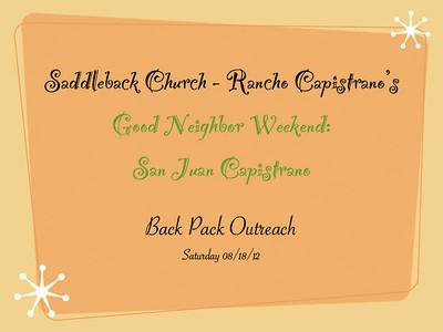 Good Neighbor Weekend- Back Pack Outreach 8-18-12