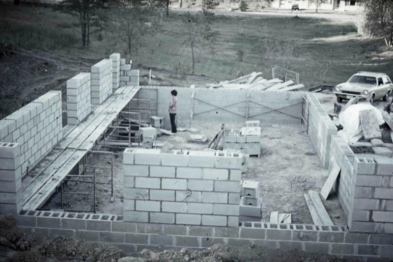 1974-10 - Jo inspects masonry