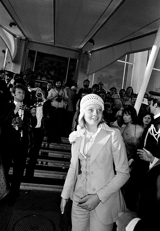 ". American actress Jodie Foster arrives in Cannes, France, May 20, 1976, for the Cannes Film Festival for the presentation of her movie ""Taxi Driver.\""  (AP Photo)"