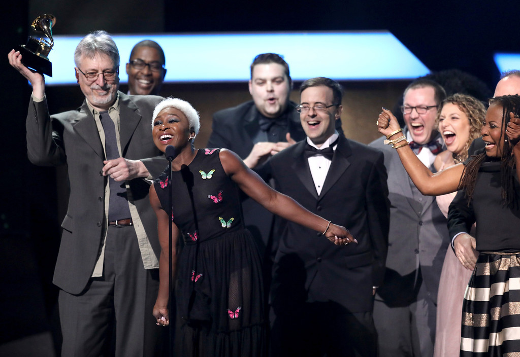 ". Cynthia Erivo and the cast and crew of ""The Color Purple\"" accept the best musical theater album at the 59th annual Grammy Awards on Sunday, Feb. 12, 2017, in Los Angeles. (Photo by Matt Sayles/Invision/AP)"