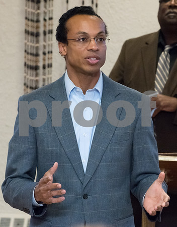 03/15/18 Wesley Bunnell   Staff Candidate for Treasurer Shawn Wooden speaks at the Pulaski Club on Thursday evening as he along with other Democratic candidates for state office met with the Democratic Town Committee as well as New Britain residents.
