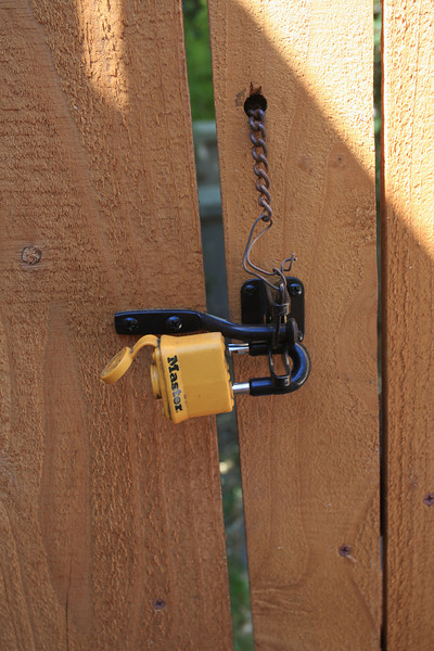 Close up of lock fixture in backyard.