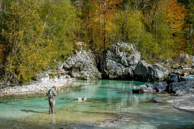 A fly angler's paradise - the river Soca in autumn.