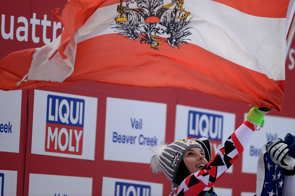 . BEAVER CREEK, CO - FEBRUARY 03: Champion Anna Fenninger of Austria celebrates during the the ladies\' super-G finals. FIS Alpine World Ski Championships 2015 on Tuesday, February 3, 2015. (Photo by AAron Ontiveroz/The Denver Post)