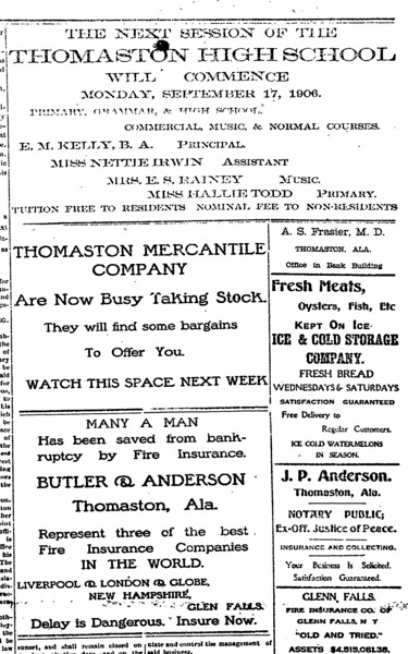Various advertisements from The Thomaston Post