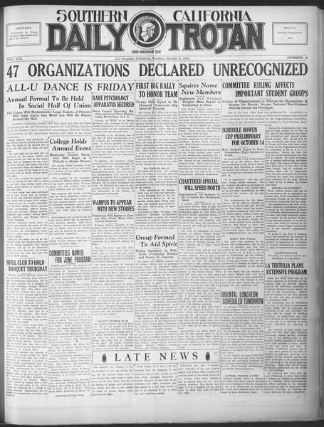 Southern California Daily Trojan, Vol. 21, No. 16, October 08, 1929