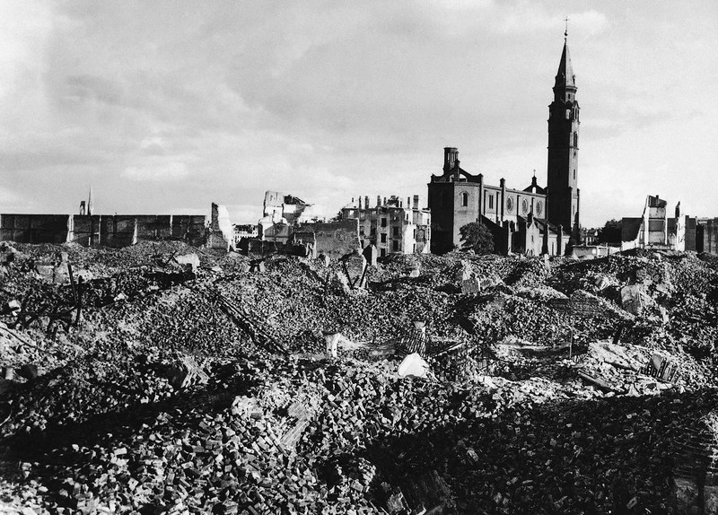 . All that remains of the Ghetto Quarter of Warsaw, Poland, is the catholic church seen standing among the debris on Oct. 13, 1945.  (AP Photo)