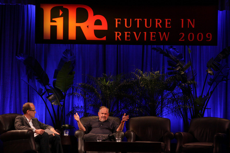 """""""Assessing the H1N1 ('Swine Flu') Pandemic: What to Expect for the Next Few Years"""": Larry Brilliant (R), President, Skoll Urgent Threats Fund; and host Alan Smith, Founder and CEO, Vesta Health Systems"""