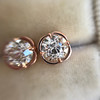 .74ctw Transitional Cut Diamond Earrings, Yellow Gold 9