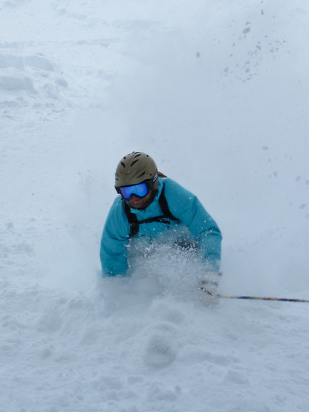 snow is flying for Carlton on Little Sister