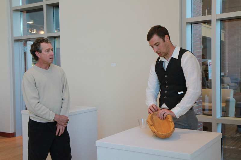 Woodworking and art display in the Tucker Student Center Gallery.