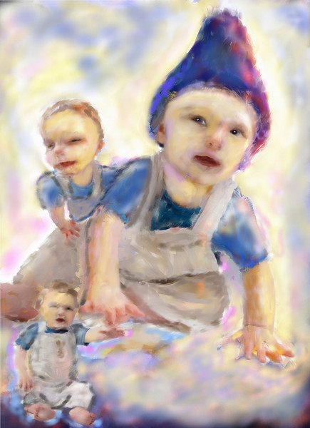 Soft pastels work well for babies. This one is a photo collage