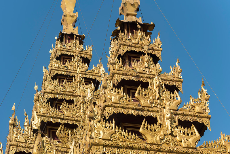 Detail of ornate roofs, Shwedagon Pagoda, Yangon (Rangoon), Myanmar (Burma)