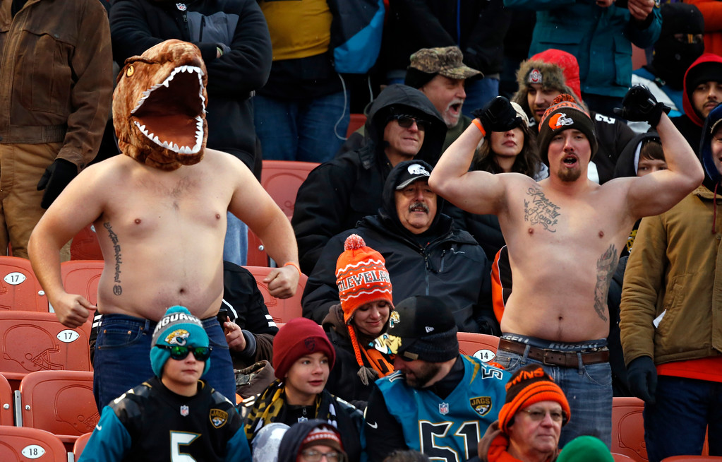 . Cleveland Browns fans watch in the second half of an NFL football game between the Jacksonville Jaguars and the Cleveland Browns, Sunday, Nov. 19, 2017, in Cleveland. (AP Photo/Ron Schwane)